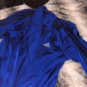 Adidas track jacket blue medium men's